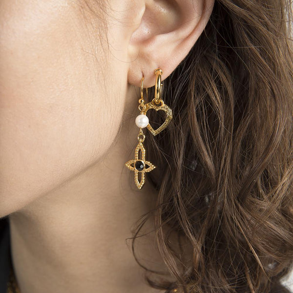 'VOGUE' CROSS EARRING - GOLD