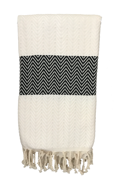 TURKISH TOWEL - CHEVRON IVORY