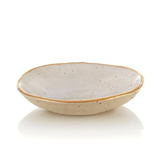 STONEWARE BOWL - WHITE WITH GOLD RIM