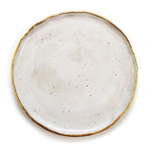 STONEWARE LARGE PLATE - WHITE WITH GOLD RIM