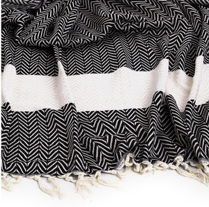 TURKISH TOWEL - CHEVRON BLACK
