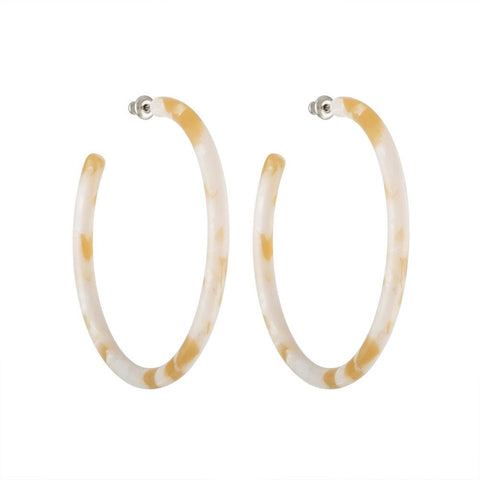 LARGE HOOPS - TAUPE SHELL