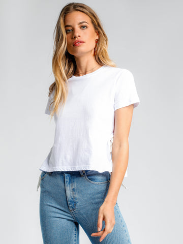ERICKSON TIE SIDE TEE - WHITE