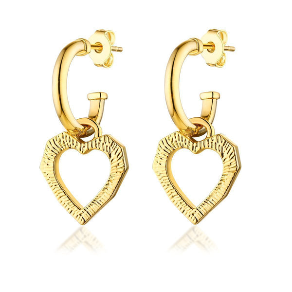 'LOVE CATS' HEART EARRINGS - GOLD