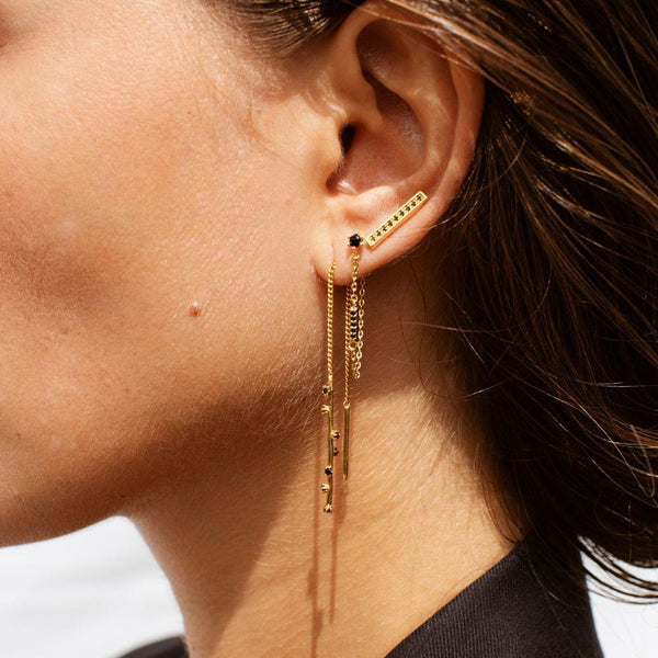 GEORGETTE THREAD EARRINGS - 18K GOLD PLATED