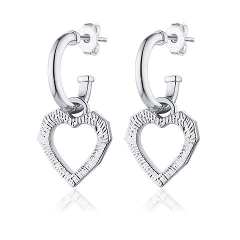 'LOVE CATS' HEART EARRINGS - SILVER