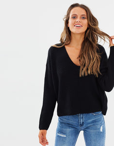 CAMILE V NECK KNIT - BLACK