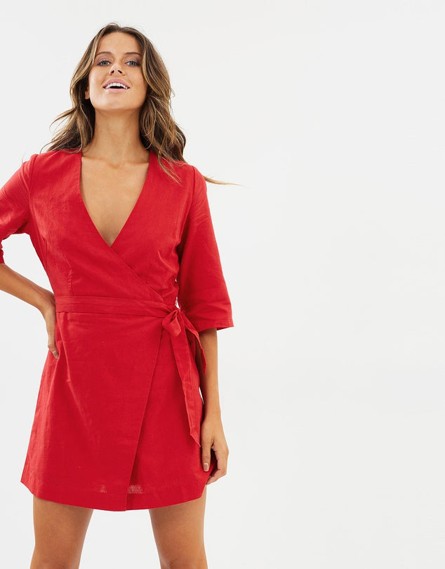 MERCER LINEN WRAP DRESS - RED
