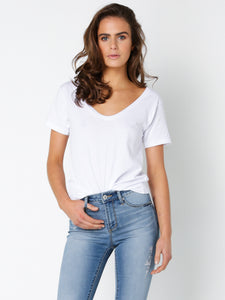 BLAKE BASIC V NECK TEE - WHITE