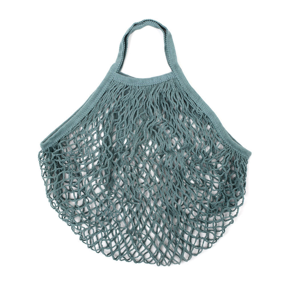 MINI COTTON STRING BAG - GREY/GREEN