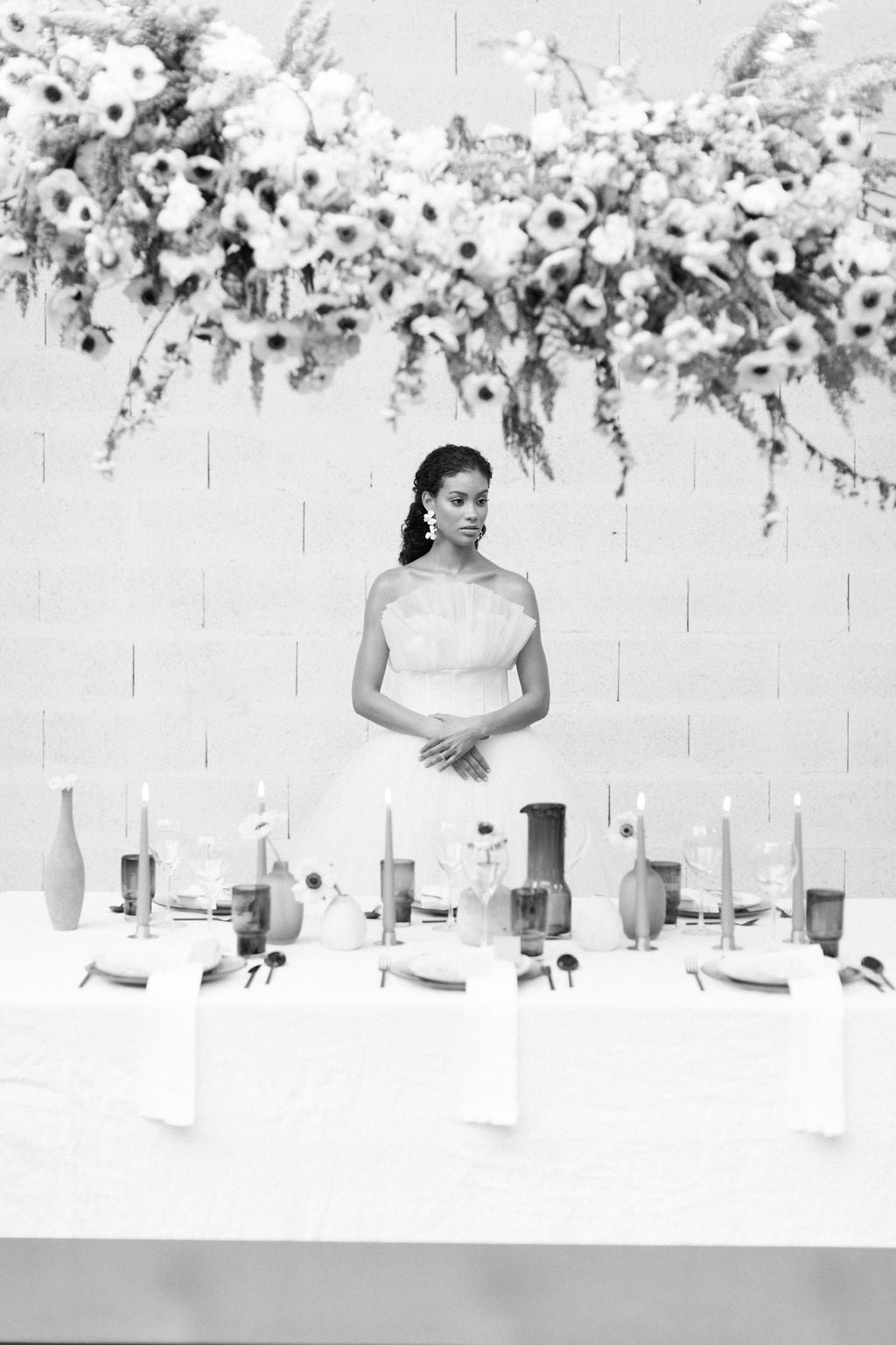 Monochromatic wedding shoot | photo by Franklyn K Photography | Linens by Madame de la Maison