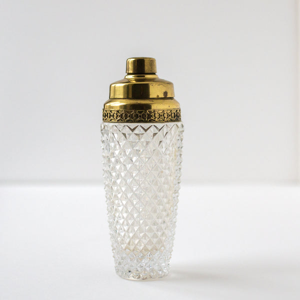 Crystal & Brass Cocktail Shaker