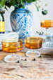 vintage amber colored champagne coupes | From Madame de la Maison