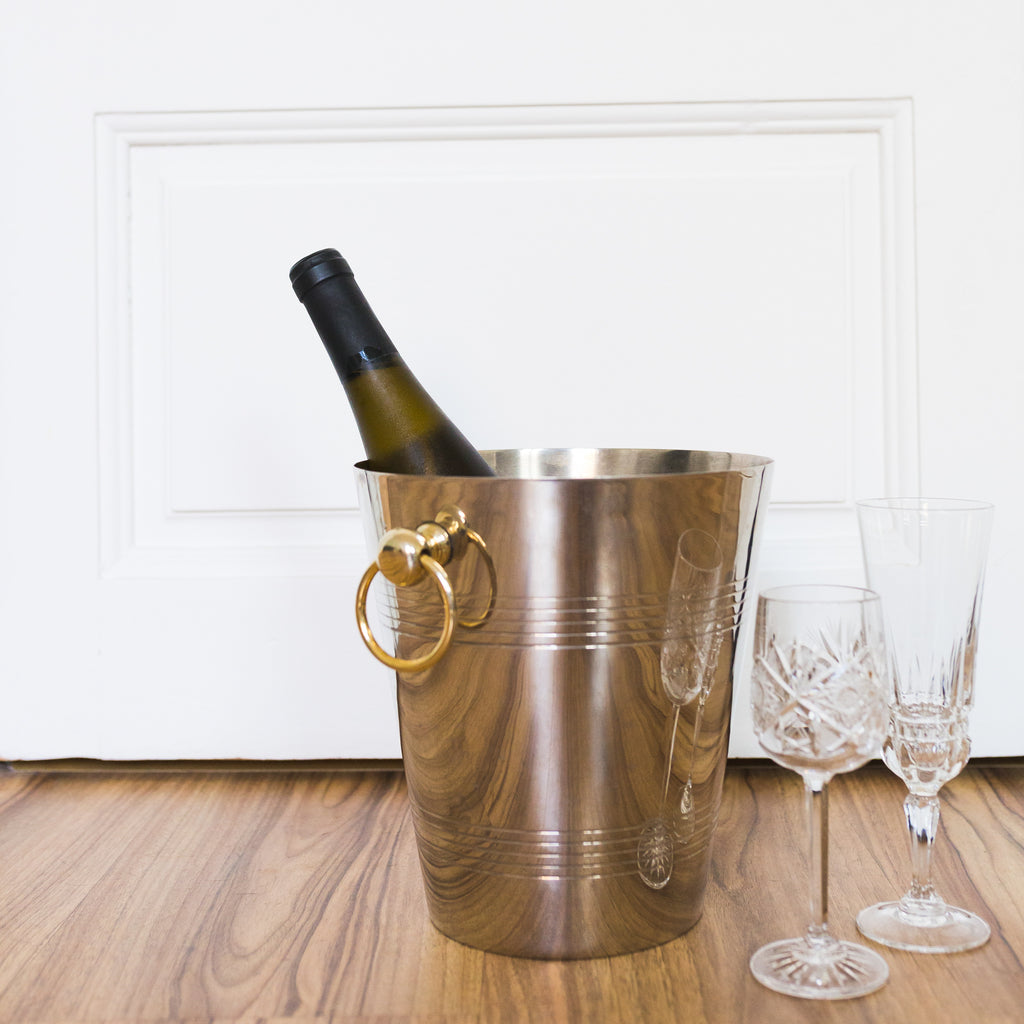 Silver Champagne Bucket with Gold Handles