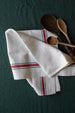Antique Vintage Set of Cotton Kitchen Towels with Red and Green Stripe sold on Madame de la Maison www.madamedelamaison.com