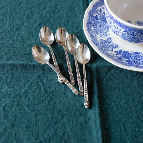 Antique Vintage Set of 5 Silver Napoleon III Tea Spoons sold on Madame de la Maison www.madamedelamaison.com