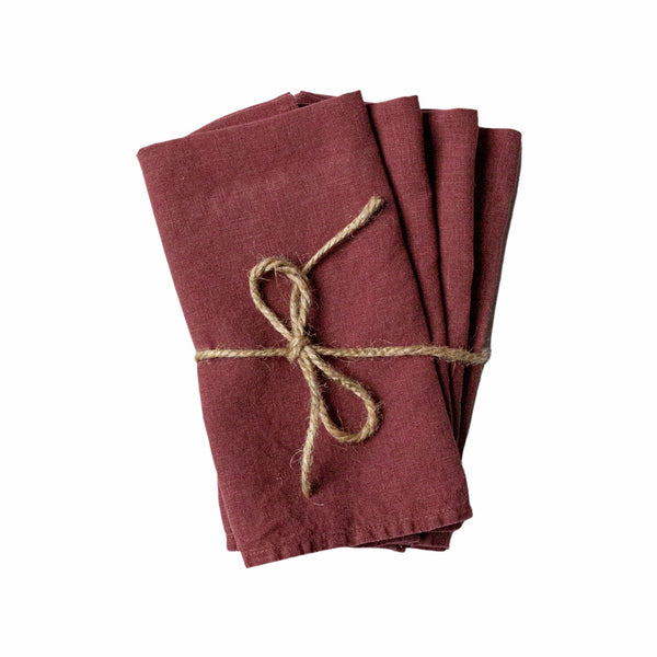 Set of 4 Bordeaux Linen Napkins