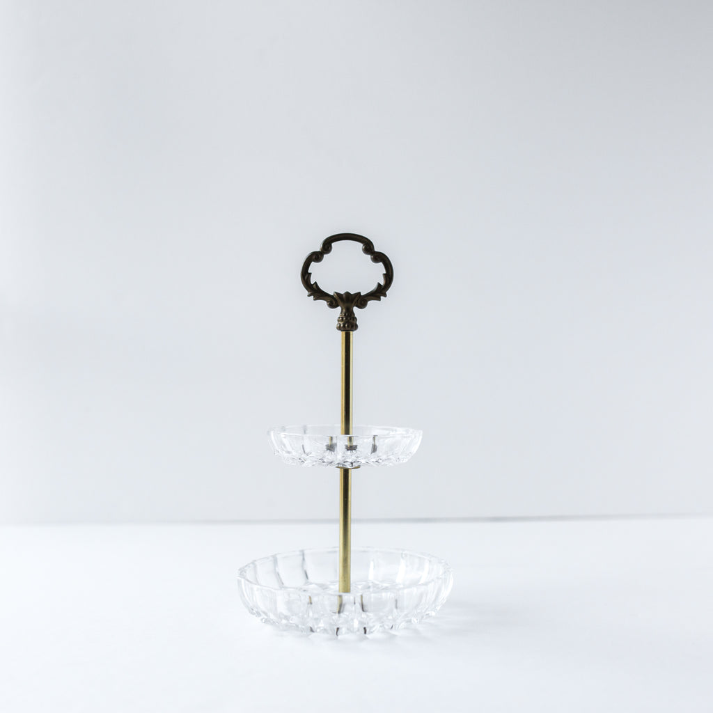 Crystal and Brass Two-Tier Serving Stand