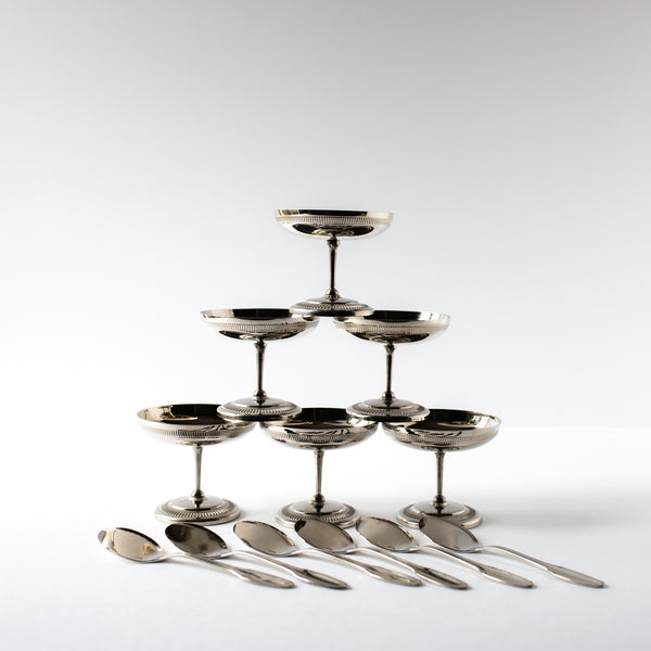 Set of Silver Dessert Coupes and Spoons by Jean Couzon