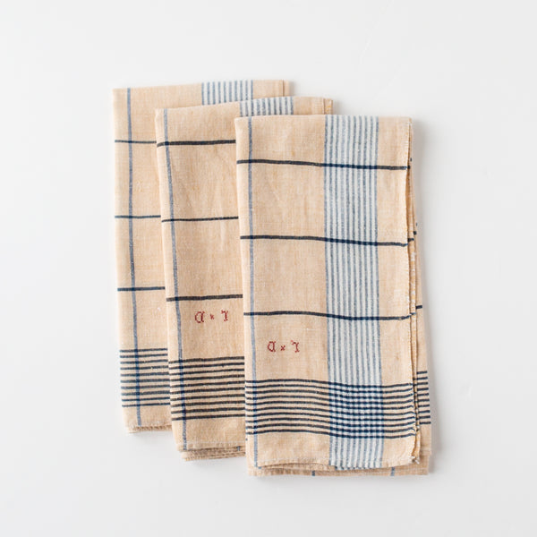 Ecru and Blue Checked Napkins