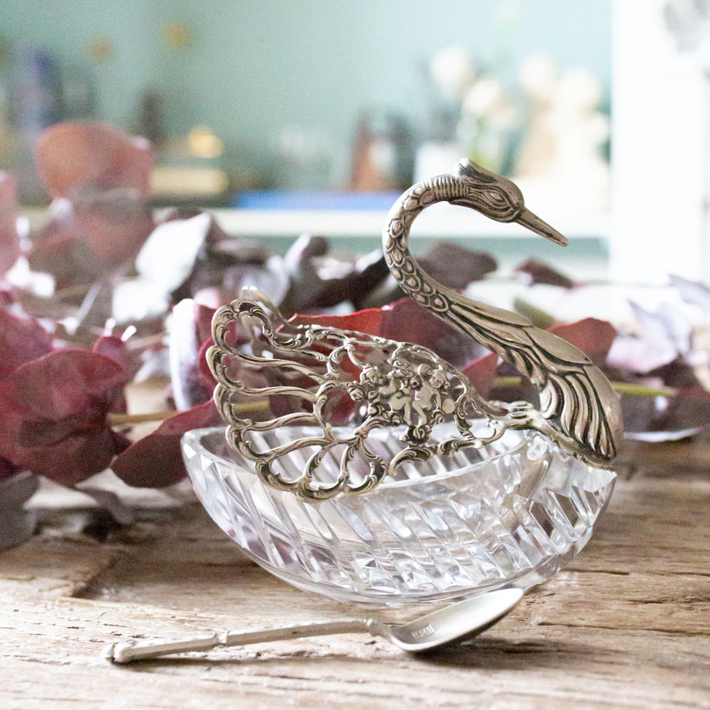 Antique Vintage Pierced Silver and Beveled Crystal Swan Serving Dish sold on Madame de la Maison www.madamedelamaison.com