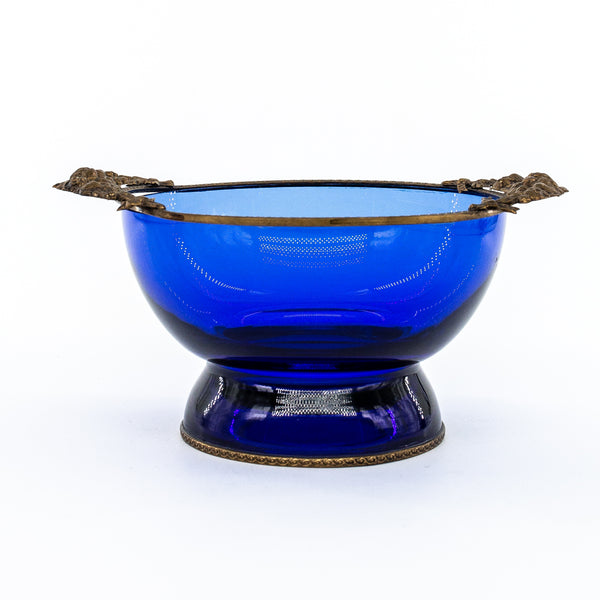 Antique brass and blue glass bowl |  sold on www.madamedelamaison.com