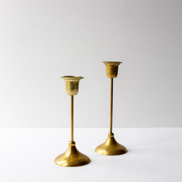 Antique Brass Tulip Candlesticks sold on Madame de la Maison