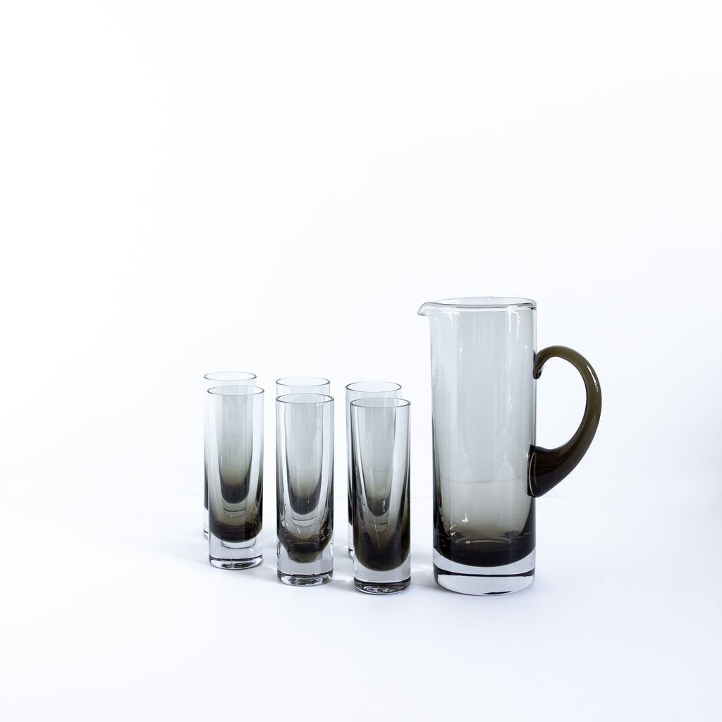 Antique Pitcher and Set of 6 Tinted Glasses | Sold on Madame de la Maison