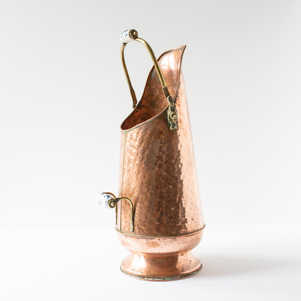Hammered Copper and Porcelain Dutch Vase