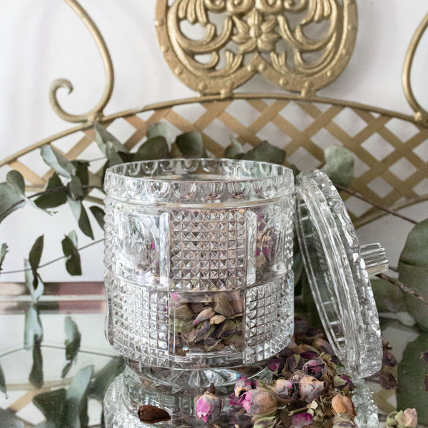 Antique Vintage Cut Crystal Canister with Cover sold on Madame de la Maison www.madamedelamaison.com