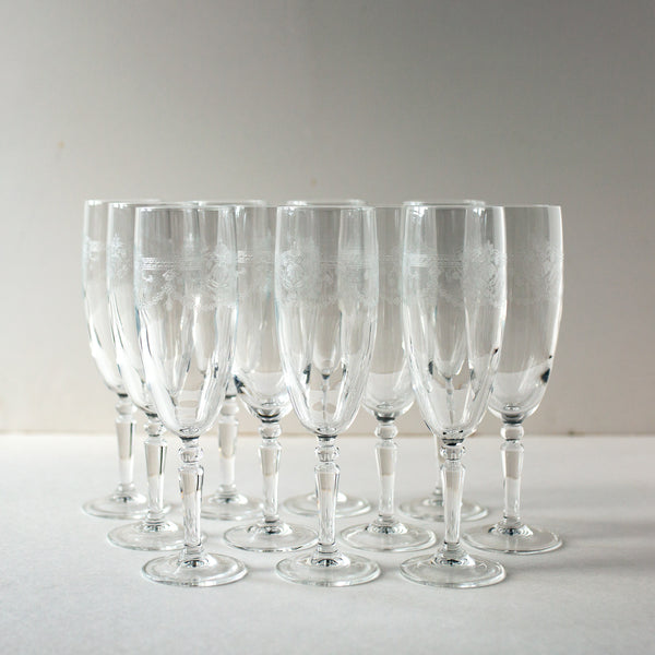 Set of 11 Antique Crystal Champagne Flutes | Madame de la Maison