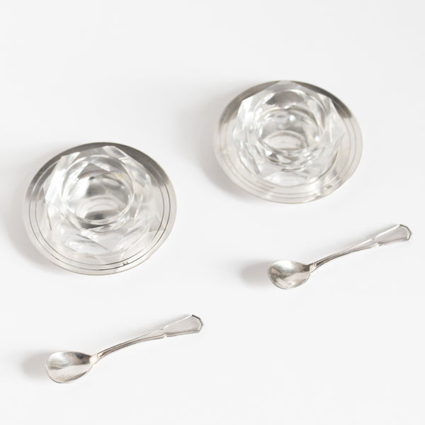 Silver And Crystal Salt Cellars with Spoons