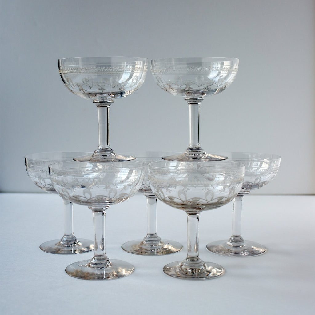 Set of Crystal Engraved Champagne Glasses