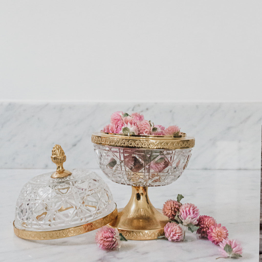 Cut Crystal Globe Shaped Container with Gold Trim