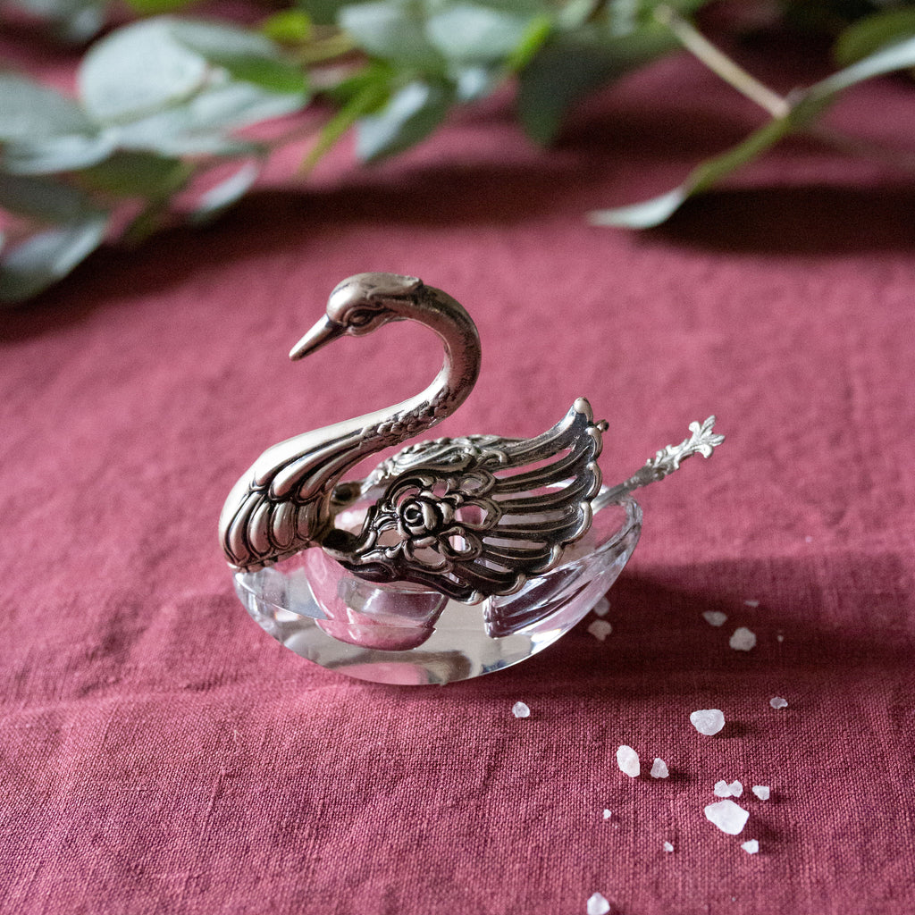 Antique Vintage Pierced Silver and Glass Swan Salt Cellar sold on Madame de la Maison www.madamedelamaison.com
