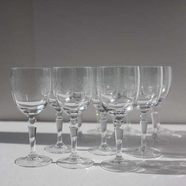 Antique crystal wine glasses from Madame de la Maison