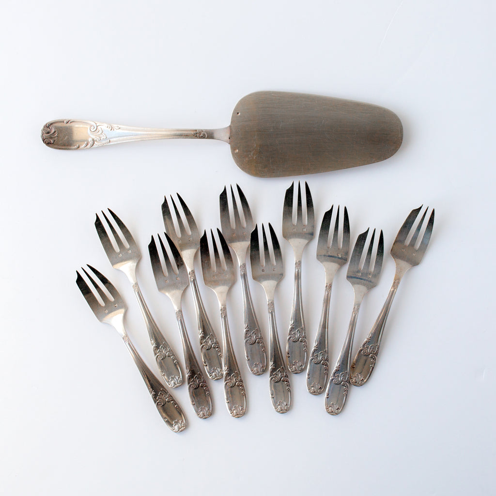 Set of Silver Pastry Forks and Server
