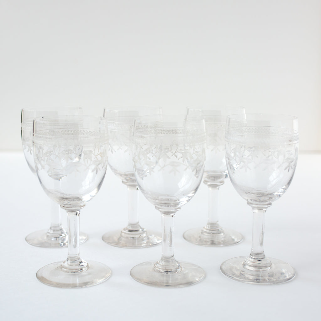Set of Crystal Engraved Port or Dessert Wine Glasses