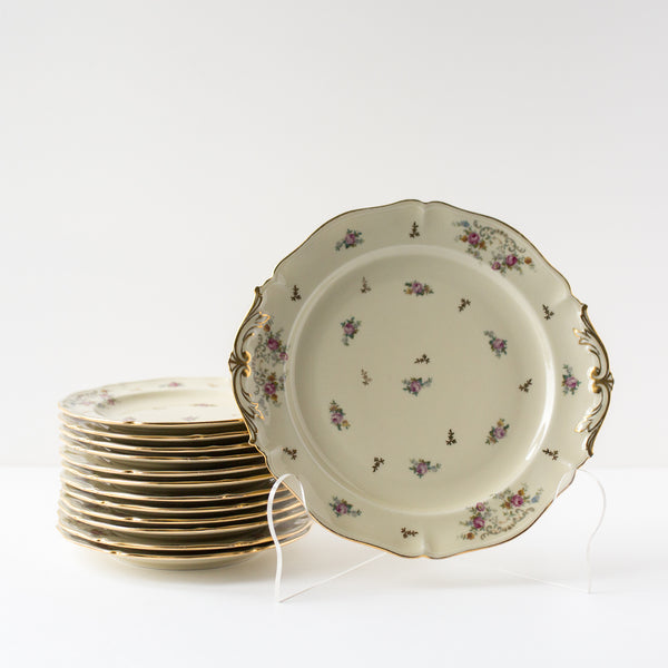 Floral and Cream Porcelain Dessert Plate Set From Limoges