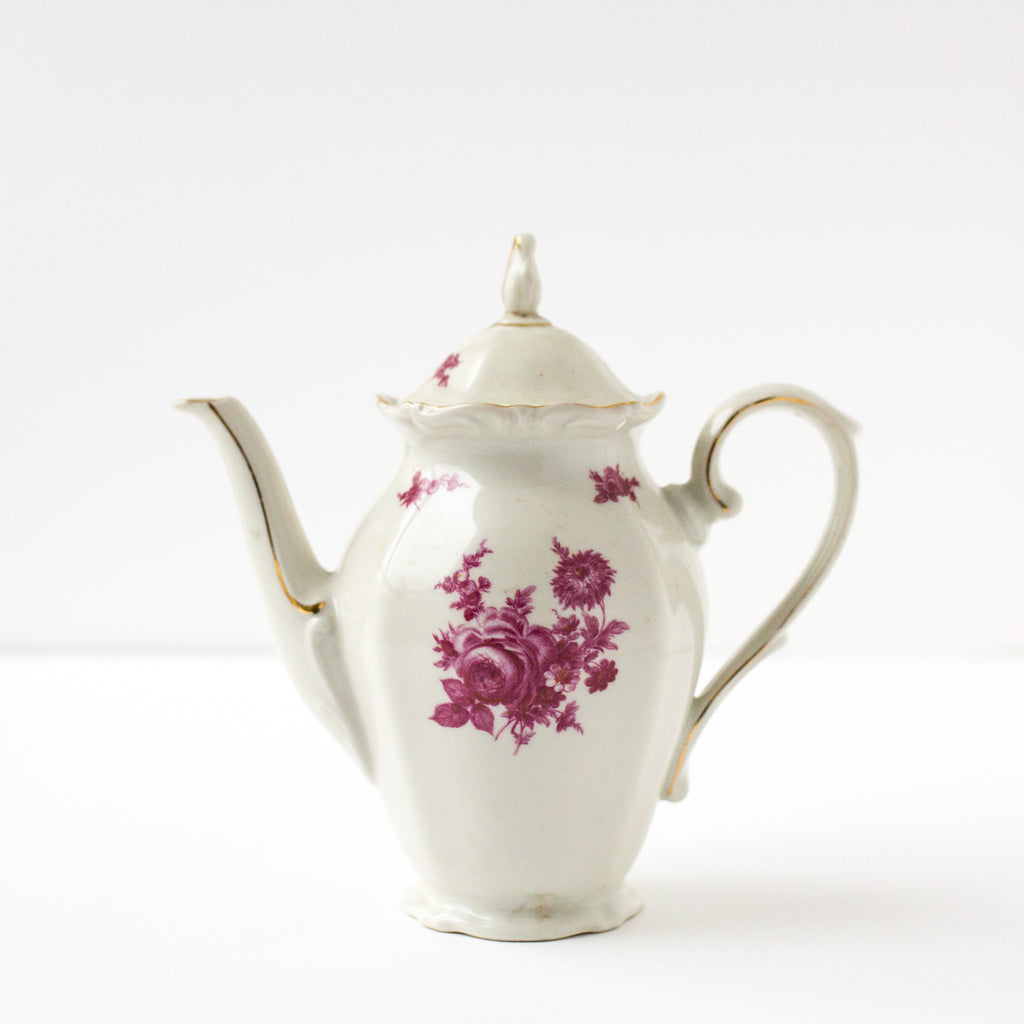 White and Rose Ceramic Teapot