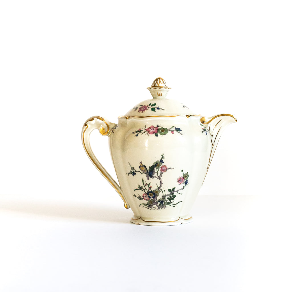 Cream Floral Teapot from Royale Limoges