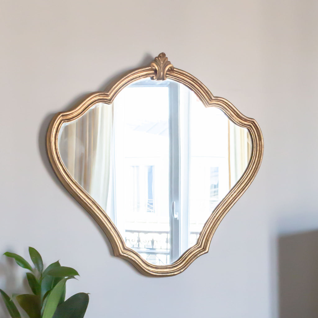 Antique Vintage Gilded Wood Bulbous Mirror sold on Madame de la Maison www.madamedelamaison.com