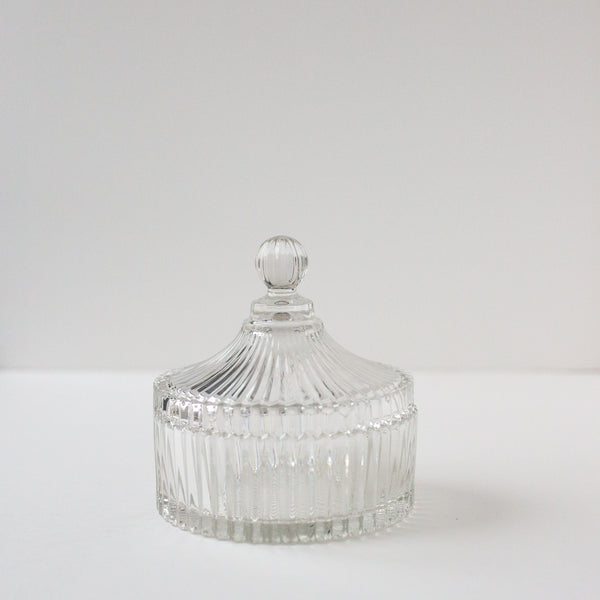 Ribbed Glass Trinket Jar With Cover