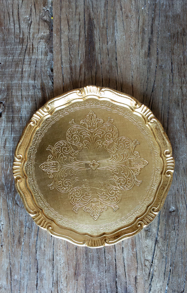 Gold Florentine Chargers for Rent | Madame de la Maison