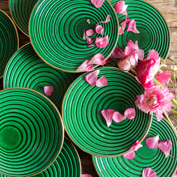 Set of 9 Hunter Green Plates with Gold Trim