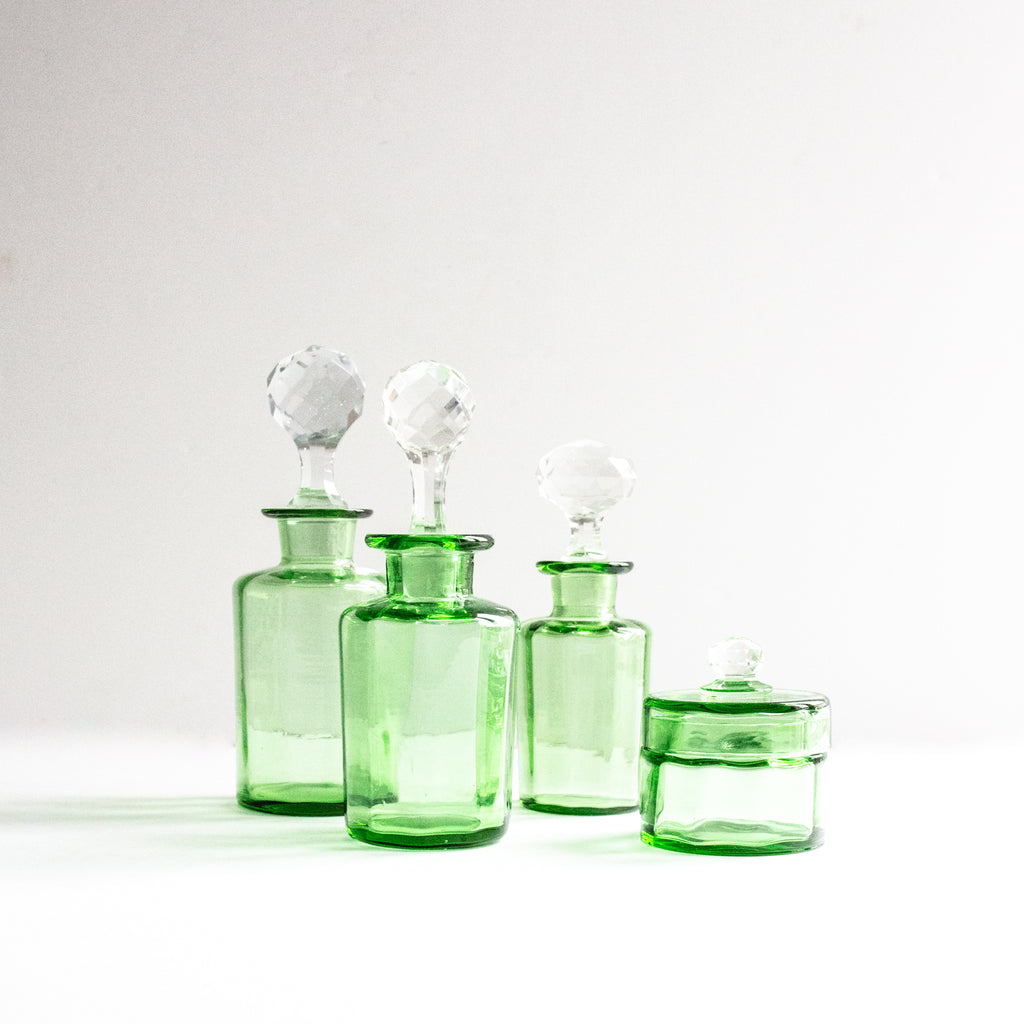 Set of Green Vanity Jars
