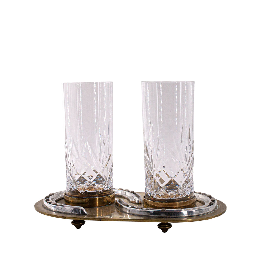Antique Hermes Horseshoe Tray with Crystal Glasses | sold www.madamedelamaison.com