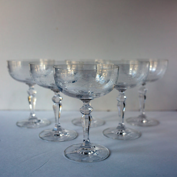 Antique champagne coupes from Madame de la Maison