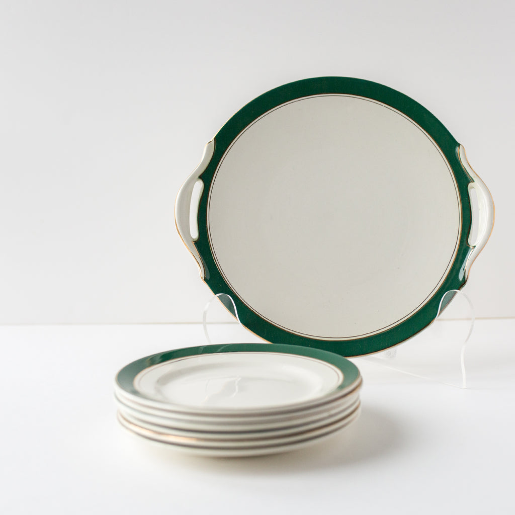 Set of Hunter Green and Gold Small Plates And Platter