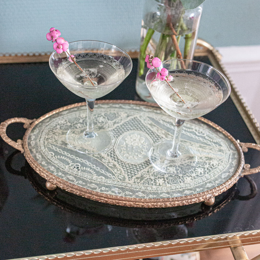 Brass and victorian lace serving tray | sold on www.madamedelamaison.com